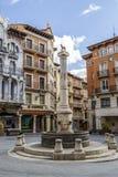 Teruel El Torico fontanna w placu Carlos Castel kwadracie Obrazy Royalty Free