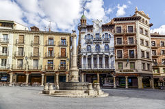 Teruel El Torico fountain in Plaza Carlos Castel square. Teruel, Spain - March 11, 2016: Famous bull statue on the Plaza del Torico in Teruel, Aragon, Eastern Stock Photo