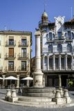 Teruel El Torico fountain in Plaza Carlos Castel square. Teruel, Spain - March 11, 2016: Famous bull statue on the Plaza del Torico in Teruel, Aragon, Eastern Stock Images