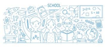 Terug naar banner van het school de horizontale Web met glimlachende die kinderen of leerling, handboeken, kantoorbehoeften met c vector illustratie