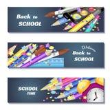 Terug naar 3d banners van de schoolverkoop Kan voor marketing, bevordering, vlieger, blog, Web, sociale media gebruiken Stock Afbeelding