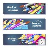 Terug naar 3d de bannersontwerp van de schoolverkoop Kan voor marketing, bevordering, vlieger, blog, Web, sociale media gebruiken Stock Foto's