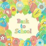 Terug naar de achtergrond van schoolballons Stock Afbeelding