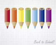 Terug naar de achtergrond van schoolkleurpotloden Stock Afbeeldingen