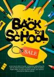 Terug naar de affiche en de banner van de schoolverkoop met kleurrijke potloden en elementen voor kleinhandels marketing verwante stock afbeelding