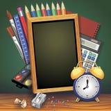 Terug naar de banner vectorontwerp van de schoolverkoop met school punten en de voorwerpen voor opslag voorzien bevordering Vecto Royalty-vrije Stock Foto
