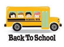 Terug naar de bus van de School met jonge geitjes Royalty-vrije Stock Afbeelding