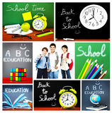 Terug naar de collage van het schoolconcept Royalty-vrije Stock Fotografie