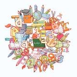 Terug naar de elementen van Schoolkrabbels, reeks etiketten en pictogrammen Vector illustratie Royalty-vrije Stock Fotografie