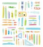 Terug naar de elementen van Schoolkrabbels, reeks etiketten en pictogrammen Vector illustratie zwart Stock Foto's