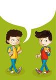 Terug naar de jonge geitjes van het schoolonderwijs met sociale bel. Royalty-vrije Stock Foto's