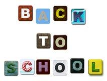 Terug naar de kleurrijke teksten van de School stock foto's