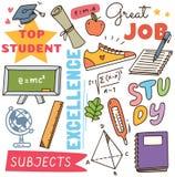 Terug naar de krabbelachtergrond van het schoolconcept royalty-vrije illustratie