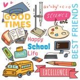 Terug naar de krabbelachtergrond van het schoolconcept stock illustratie