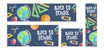 Terug naar de reeks van de schoolverkoop van vier Webbanners, beeldverhaalstijl Stock Foto's
