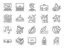 Terug naar de reeks van het schoolpictogram Omvatte de pictogrammen aangezien het onderwijs, studie, lezingen, cursus, universite stock illustratie