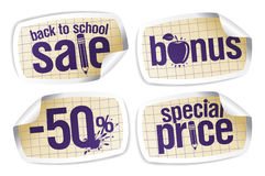 Terug naar de stickers van de schoolverkoop. Stock Fotografie
