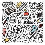 Terug naar de stijlillustratie van de schoolkrabbel Schoolbus, bagpack, potlood, raket, tennisschoen, schoolboard enz. Royalty-vrije Stock Foto's