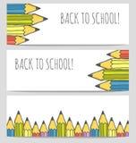 Terug naar geplaatste school kleurrijke banners Stock Foto's