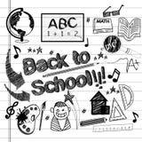 Terug naar geplaatste school schetsmatige krabbels stock illustratie