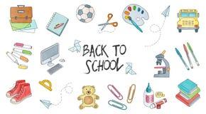 Terug naar geplaatste schoolillustraties Stock Afbeeldingen