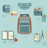 Terug naar geplaatste schoolpictogrammen - Modern vlak ontwerp Stock Illustratie
