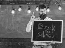 Terug naar het Concept van de School De mens met baard en snor op strikt gezicht waarschuwt studenten, bord op achtergrond Leraar royalty-vrije stock afbeelding