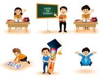 Terug naar het karakter die van Schooljonge geitjes verschillende activiteiten uitvoeren royalty-vrije illustratie