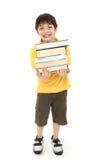 Terug naar het Kind van de Jongen van de School met Handboeken Royalty-vrije Stock Foto's