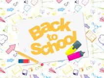 Terug naar het malplaatje van de schoolbanner met kleurrijk hand getrokken Schoolvoorwerp Stock Afbeelding