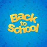 Terug naar het malplaatje van de schoolbanner met verschillend hand getrokken Schoolvoorwerp Royalty-vrije Stock Afbeelding