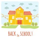 Terug naar het ontwerp van de schoolkaart De grappige bouw van de beeldverhaalhand getrokken school over landschapsachtergrond Ar stock illustratie