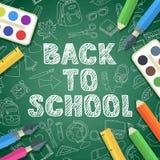 Terug naar het van letters voorzien en de kleurenpictogrammen van de schoollevering van de school de vectorschets Royalty-vrije Stock Fotografie