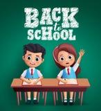 Terug naar het vectorontwerp van schooljonge geitjes Jongen en studentes die op het bureau zitten die lessen bestuderen royalty-vrije illustratie