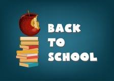 Terug naar school abstract malplaatje als achtergrond met tekst, appel en stapel van boeken op donkerblauwe bordachtergrond royalty-vrije illustratie