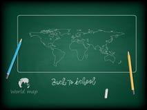 Terug naar school, achtergrond en wereldkaarten Stock Afbeelding