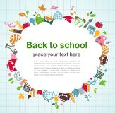 Terug naar school - achtergrond met onderwijspictogrammen Stock Fotografie