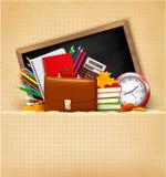Terug naar school. Achtergrond met schoollevering Stock Afbeelding