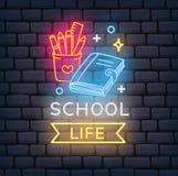 Terug naar school als thema gehad neonteken stock illustratie