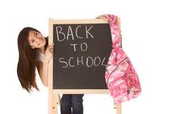 Terug naar school Aziatische vrouwelijke student door bord Stock Foto's