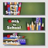 Terug naar school, banner Malplaatjes met leveringshulpmiddelen Plaats voor uw tekst Gelaagde realistische 3d, vector Stock Foto