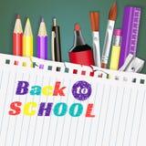 Terug naar School banner Malplaatjes met leveringshulpmiddelen Plaats voor uw tekst Plaats voor uw tekst Gelaagde realistisch Stock Foto