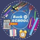 Terug naar School banner Malplaatjes met leveringshulpmiddelen Plaats voor uw tekst Plaats voor uw tekst Gelaagde realistisch Stock Fotografie