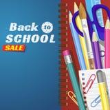 Terug naar school, banner Malplaatjes met leveringshulpmiddelen Plaats voor uw tekst Plaats voor uw tekst Gelaagde realistische 3 Stock Fotografie