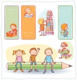 Terug naar school, Banners en Referenties, vectorillustratie Royalty-vrije Stock Afbeeldingen