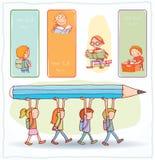Terug naar school, Banners en Referenties, vectorillustratie Royalty-vrije Stock Afbeelding
