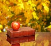 Terug naar School Boeken en appel op het bureau over de herfstbladeren Royalty-vrije Stock Fotografie