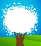 Terug naar school - boom met onderwijspictogrammen Stock Afbeelding