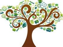 Terug naar school - boom met onderwijspictogrammen Stock Fotografie