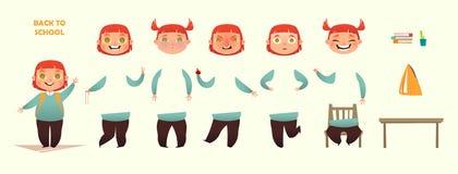 Terug naar School De reeks van de karakterverwezenlijking Verschillende emoties en gebaren De illustratie van de beeldverhaal vla Stock Fotografie